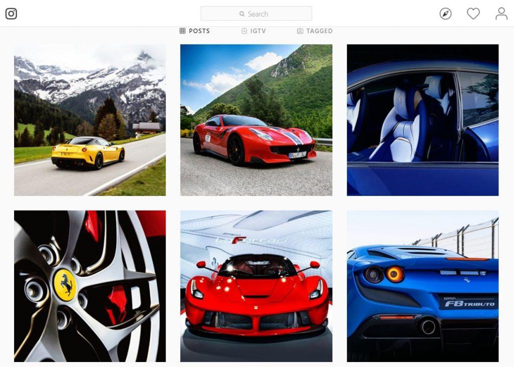 The official Instagram feed of Ferrari